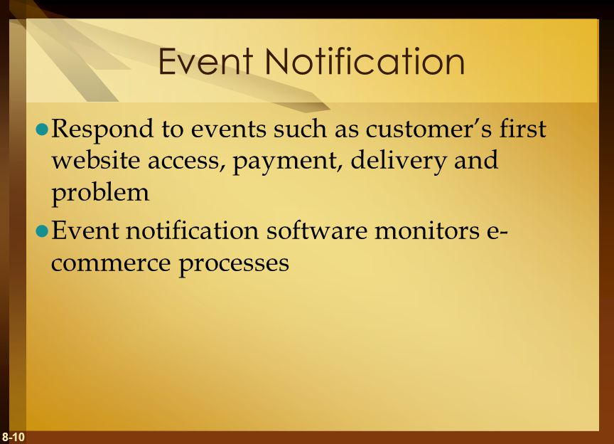 Event Notification Respond to events such as customer's first website access, payment, delivery and problem.