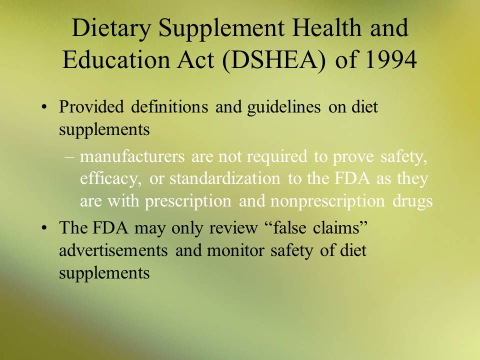 examination of the efficacy of dietary supplements Dietetic practitioners' knowledge, behaviors and self-efficacy toward dietary supplements thesis presented in partial fulfillment of the requirements for the degree master of science in.