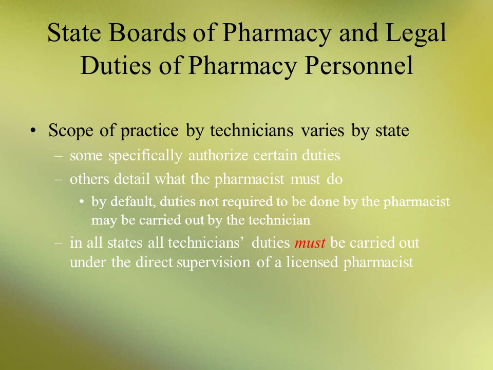 state boards of pharmacy and legal duties of pharmacy personnel - Pharmacist Duties