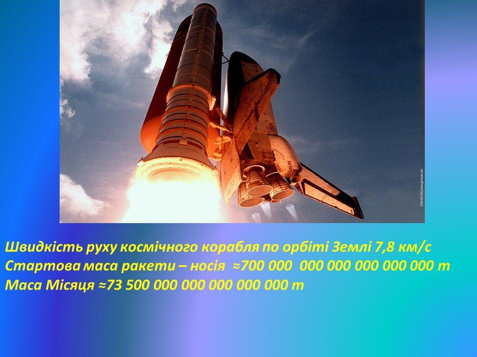 Швидкість руху космічного корабля по орбіті Землі 7,8 км/с
