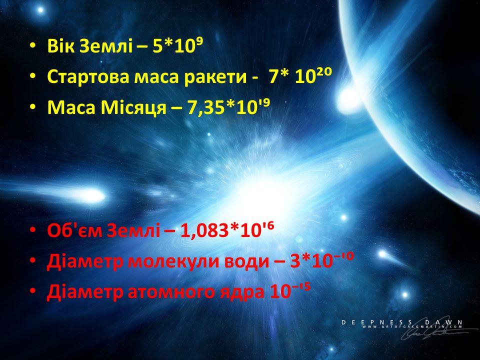 Вік Землі – 5*10⁹ Стартова маса ракети - 7* 10²⁰. Маса Місяця – 7,35*10 ⁹. Об єм Землі – 1,083*10 ⁶.