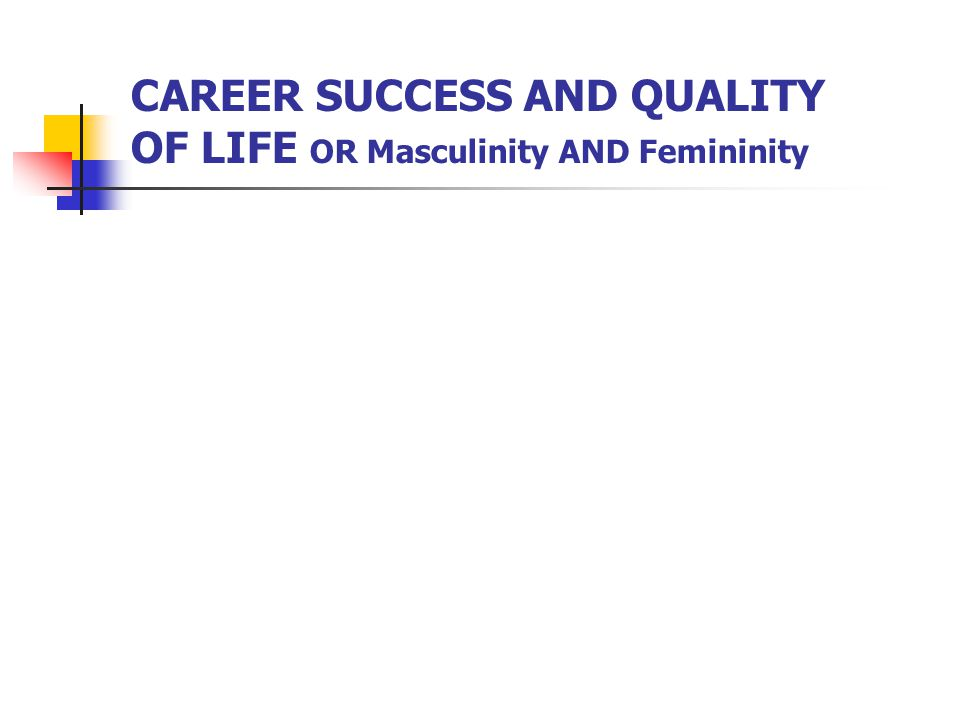 CAREER SUCCESS AND QUALITY OF LIFE OR Masculinity AND Femininity