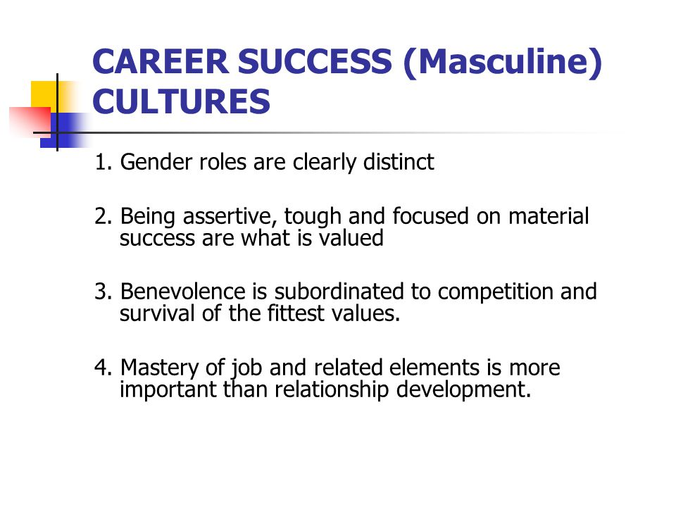 CAREER SUCCESS (Masculine) CULTURES
