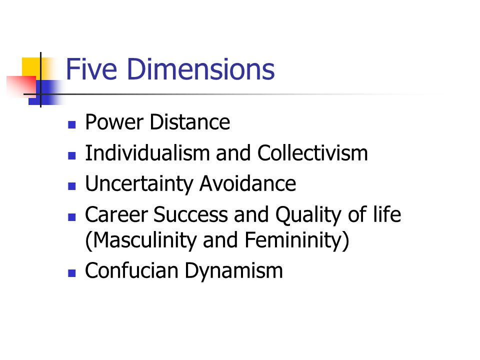 Five Dimensions Power Distance Individualism and Collectivism