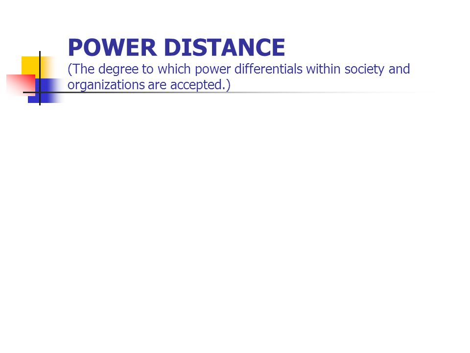POWER DISTANCE (The degree to which power differentials within society and organizations are accepted.)