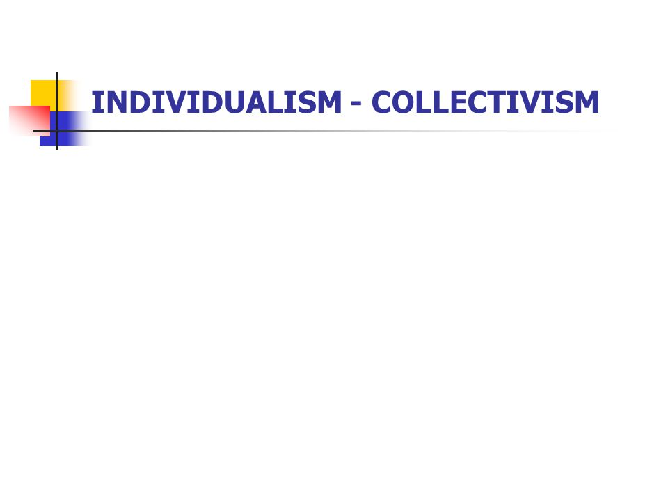 INDIVIDUALISM - COLLECTIVISM