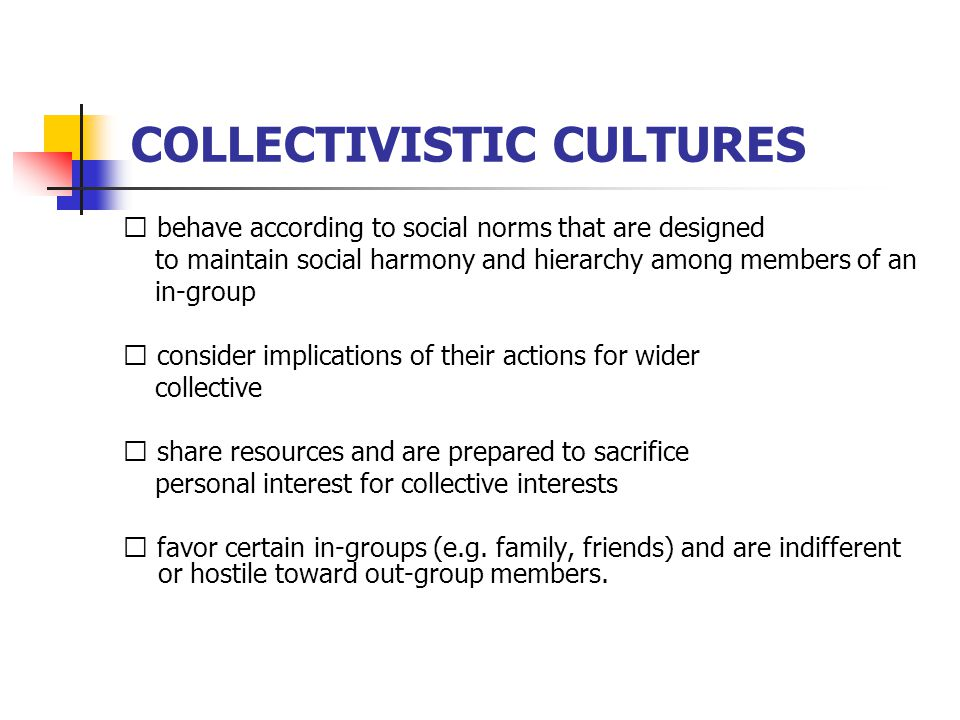 COLLECTIVISTIC CULTURES