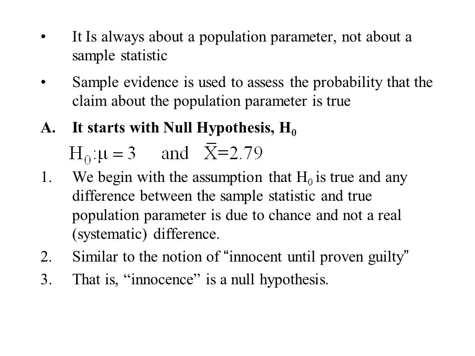 It Is always about a population parameter, not about a sample statistic
