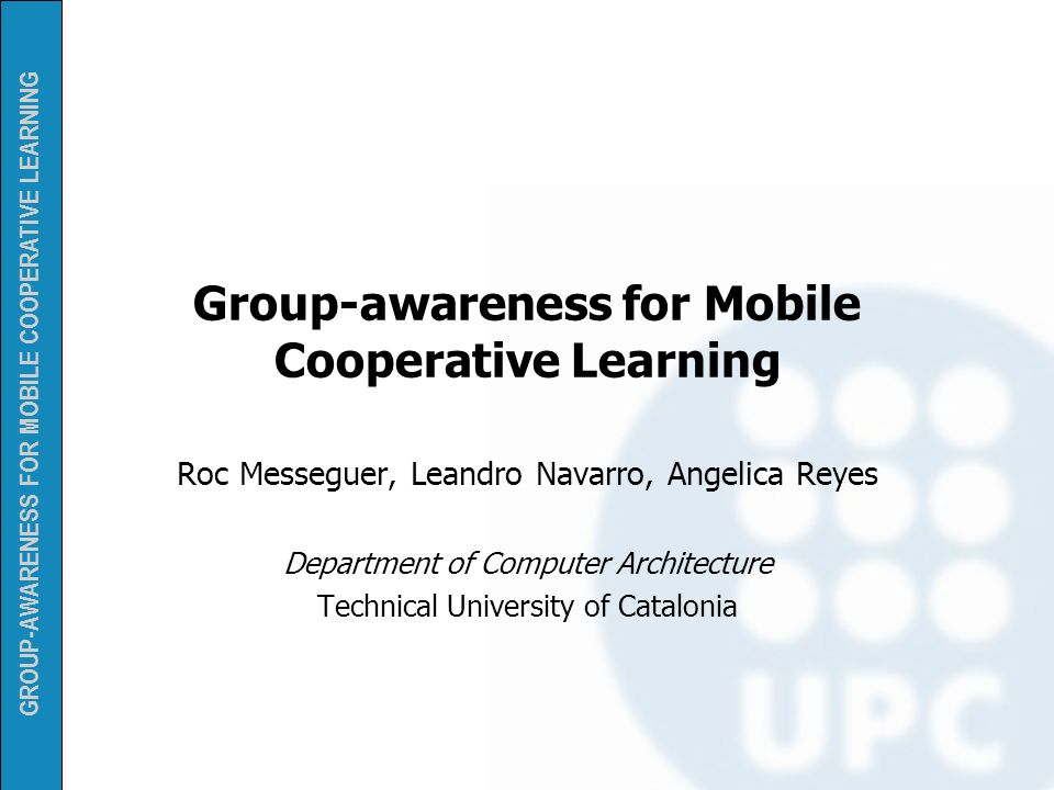 Group-awareness for Mobile Cooperative Learning