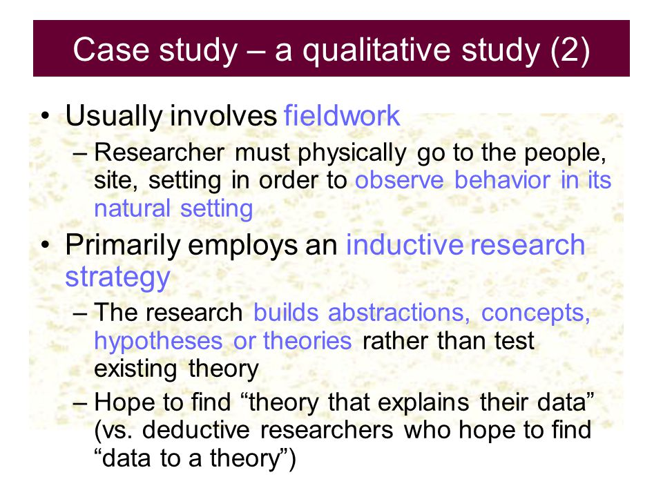 Case study – a qualitative study (2)