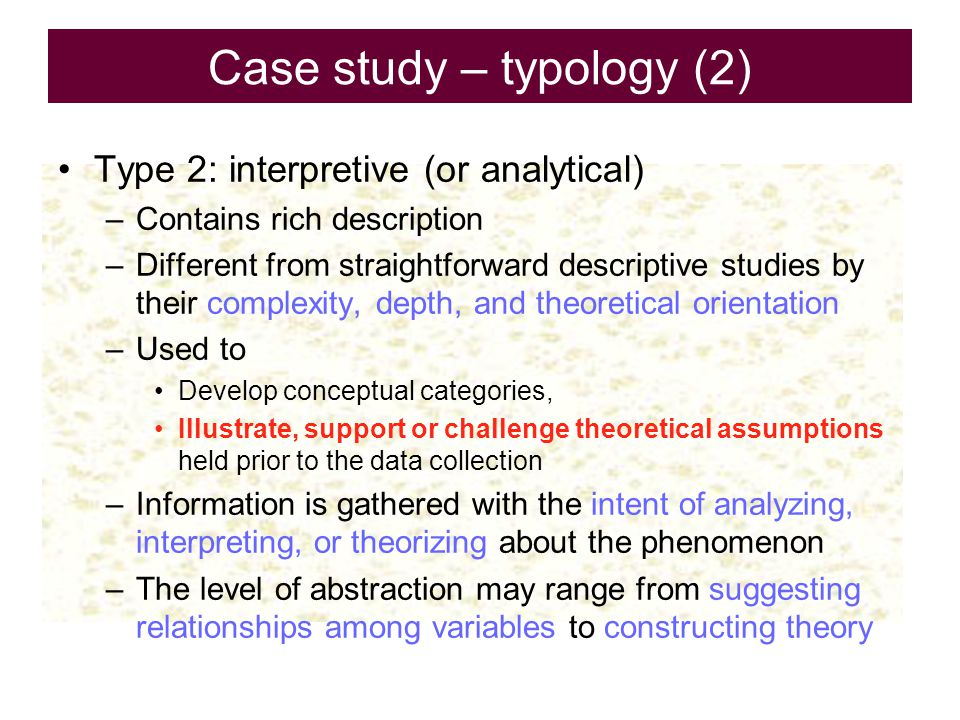 Case study – typology (2)