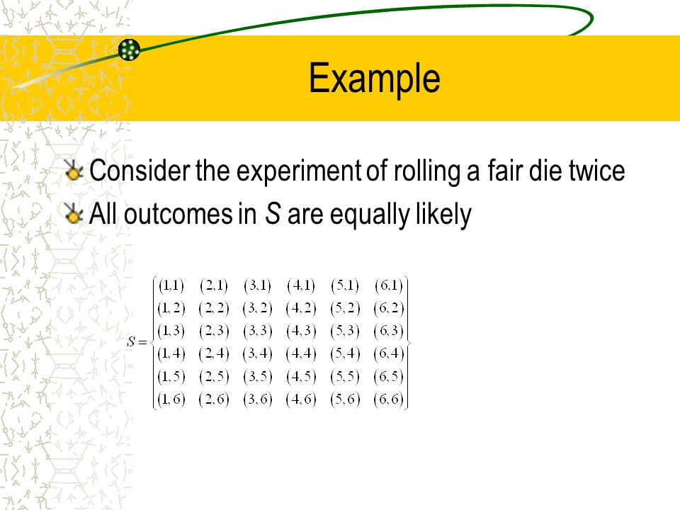 Example Consider the experiment of rolling a fair die twice