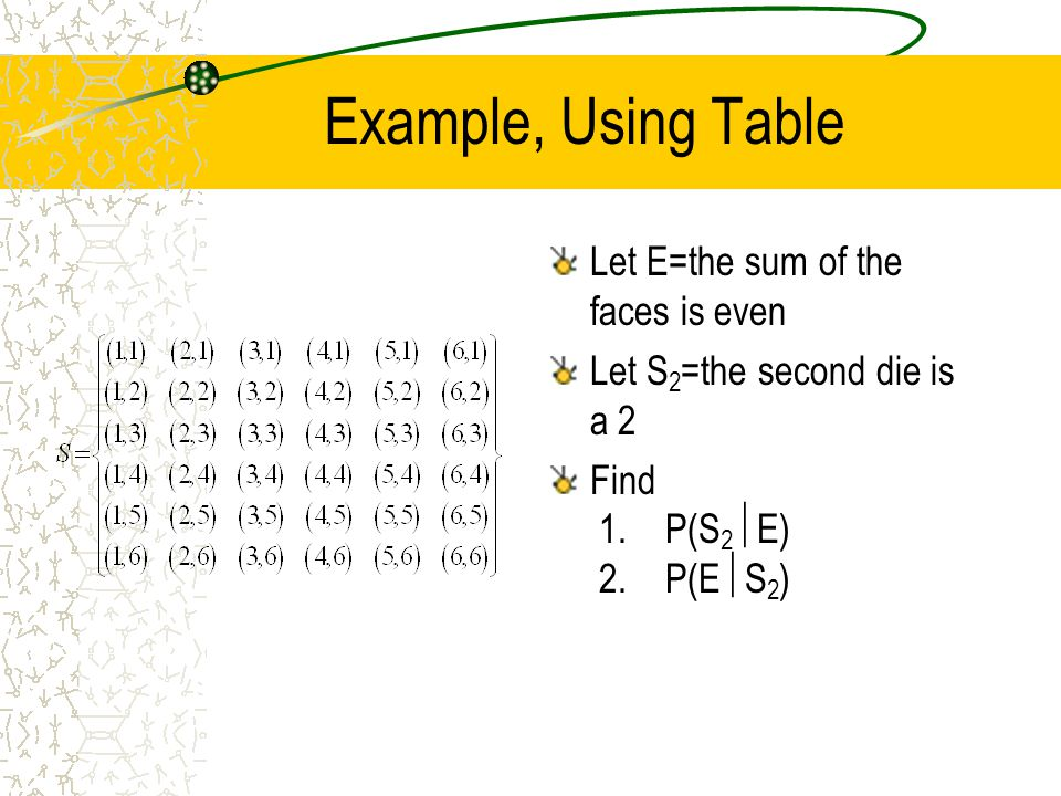 Example, Using Table Let E=the sum of the faces is even