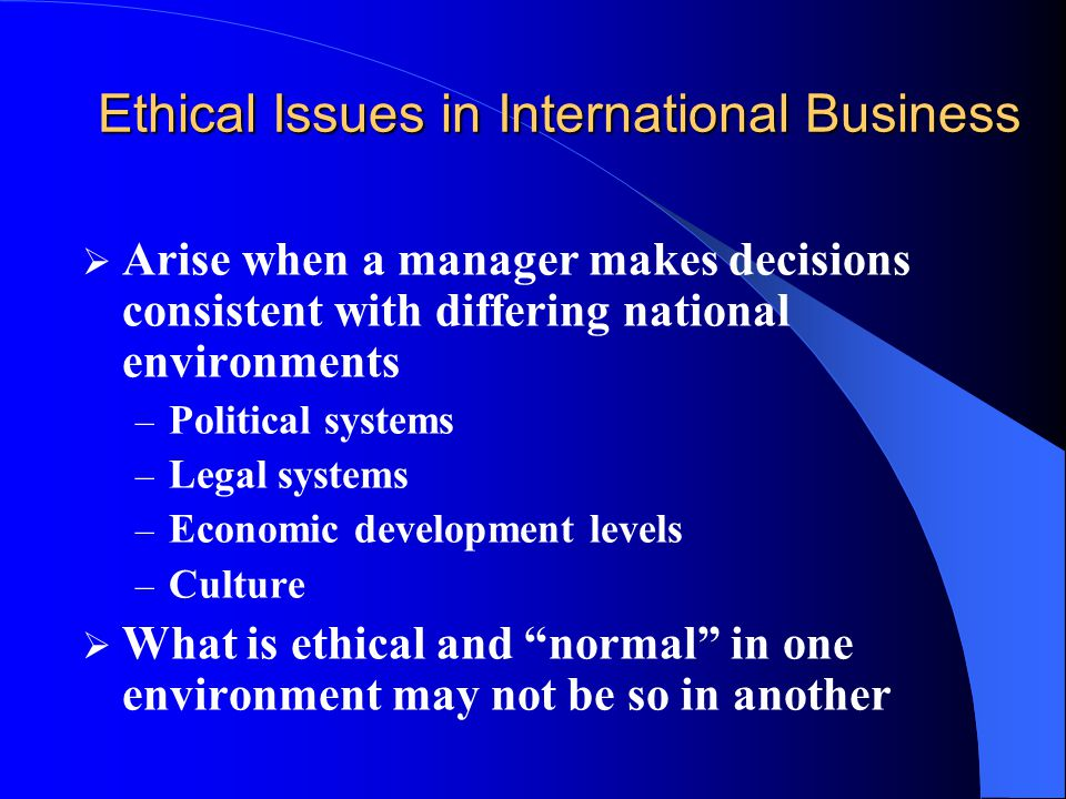 international business ethical practices Ethics international business ethics, page 3 ethics, reward systems, and coaching are a few methods that organizations  divergence of ethical business practices, and identifying specific practices which contribute the most to country (regional.