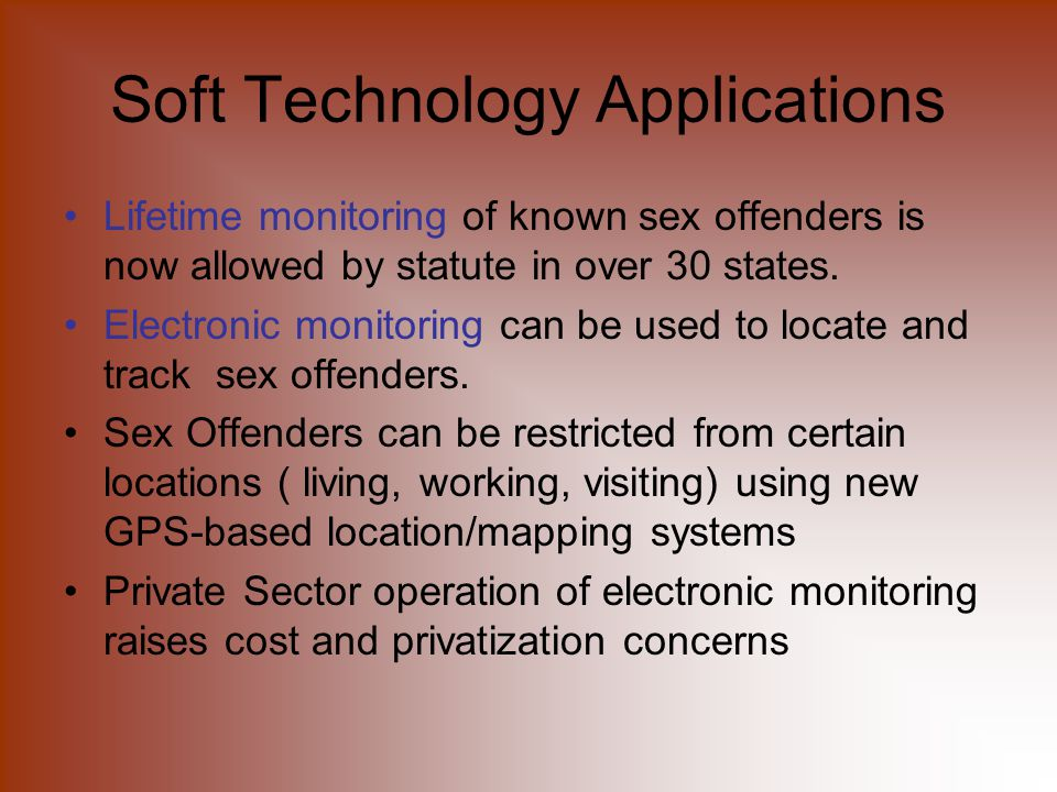 Monitoring through technology sex offenders