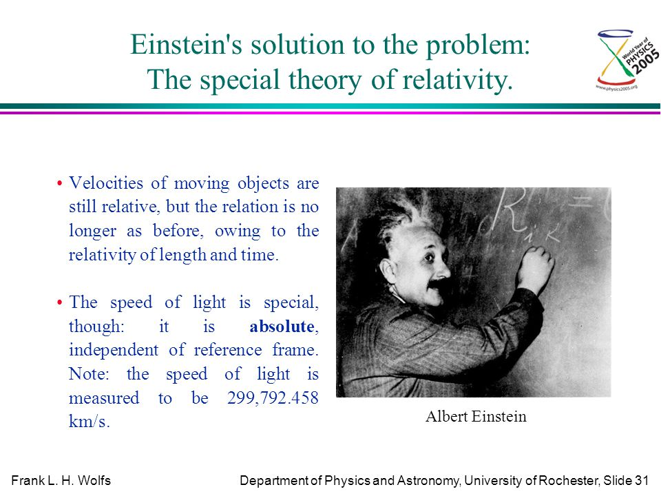an analysis of the theory of relativity in physics by albert einstein Based on this principle, einstein formulated the principle of general covariance, which forms the basis of his general theory of relativity this maxim states that the laws of physics are the same in all (ie, both inertial and gravitational) reference frames.