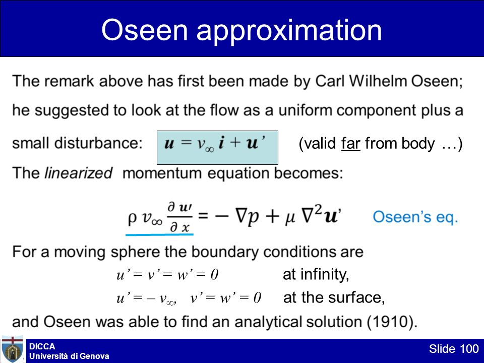Oseen approximation (valid far from body …)