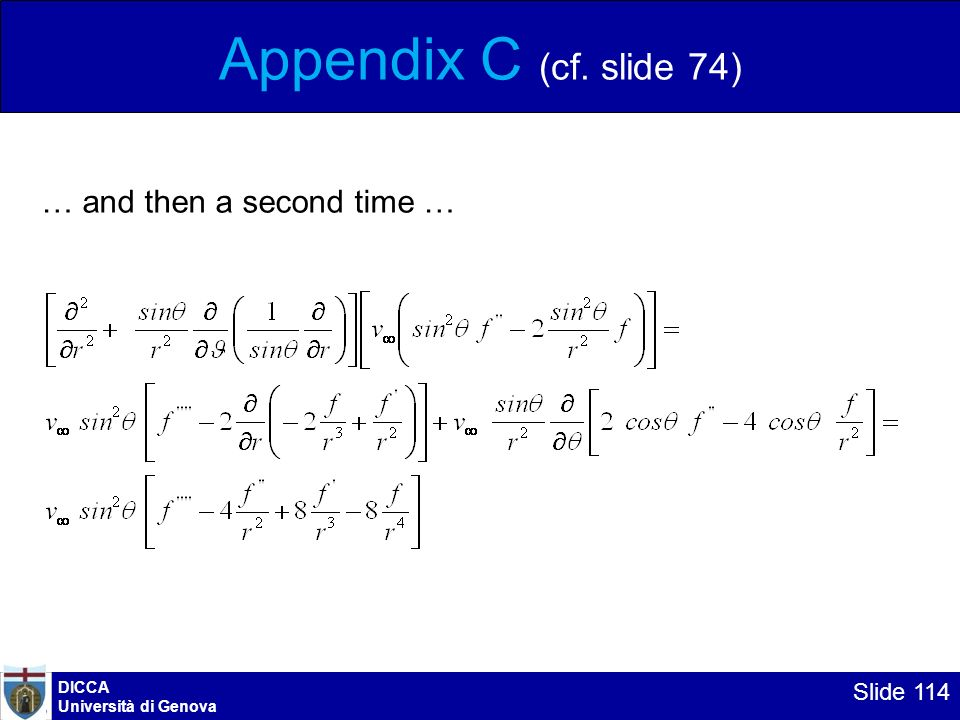 Appendix C (cf. slide 74) … and then a second time … DICCA