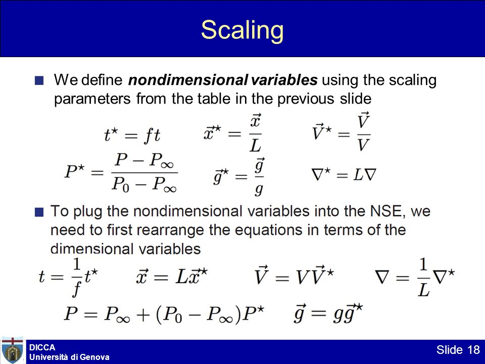 Scaling We define nondimensional variables using the scaling parameters from the table in the previous slide.