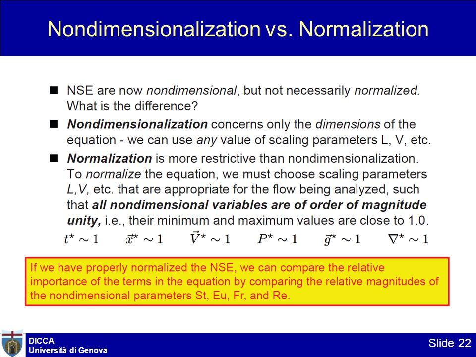 Nondimensionalization vs. Normalization