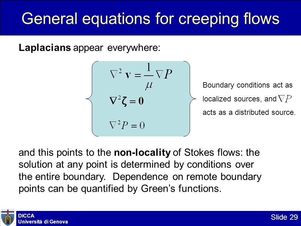 General equations for creeping flows