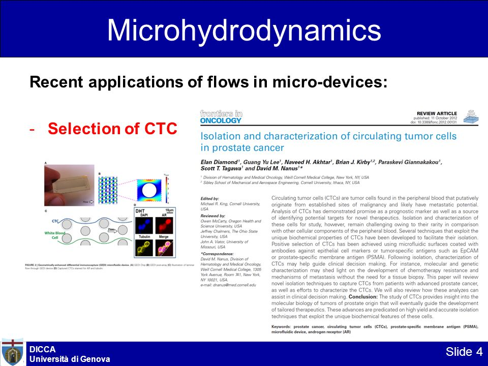 Microhydrodynamics Recent applications of flows in micro-devices: