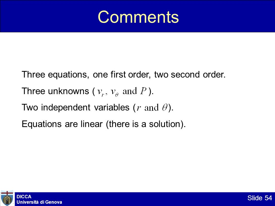 Comments Three equations, one first order, two second order.