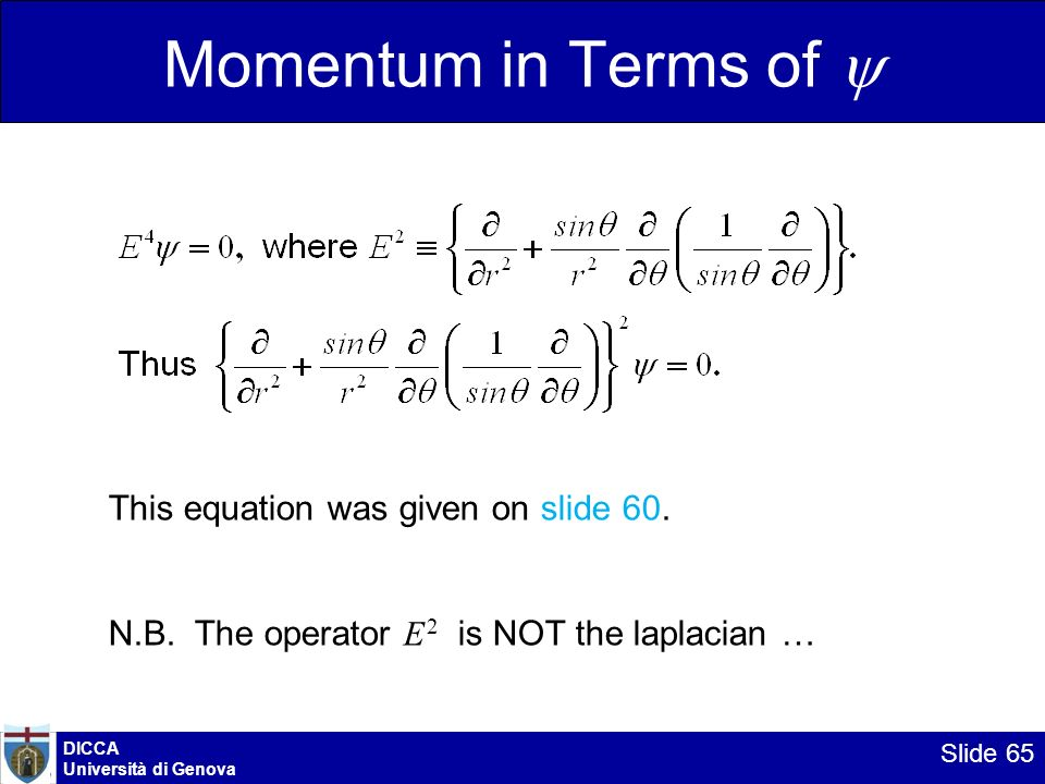 Momentum in Terms of y This equation was given on slide 60.