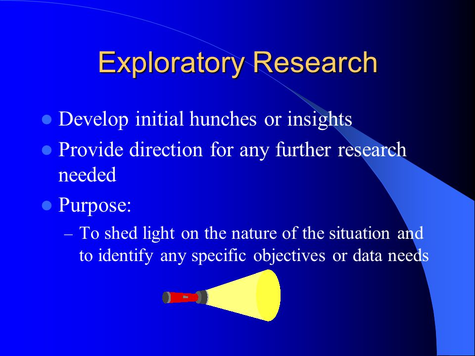 the purpose of exploratory research Exploratory research does not aim to provide final and conclusive answers to research questions the researcher may even change the direction of the study to a certain extent, however not fundamentally, according to new evidences gained during the research process.