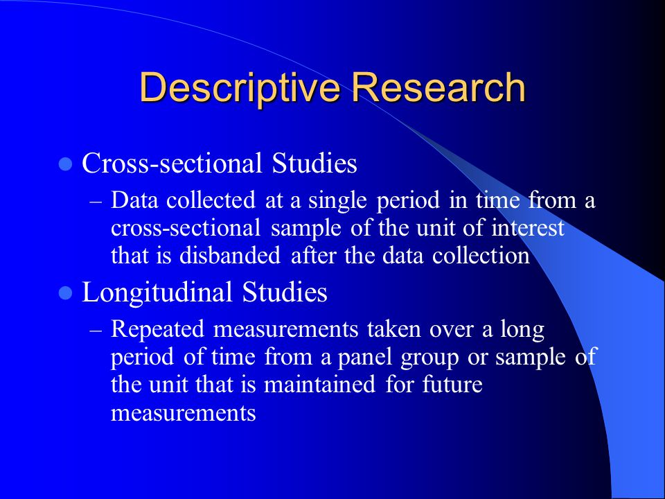 longitudinal and cross sectional research Cross-sectional analysis is a form of research that compares one company against the industry it operates within, or directly against certain competitors.