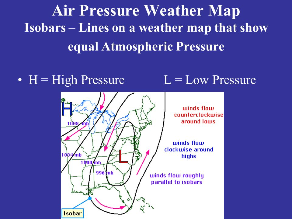 Air Pressure Weather Map Isobars – Lines on a weather map that show equal Atmospheric Pressure