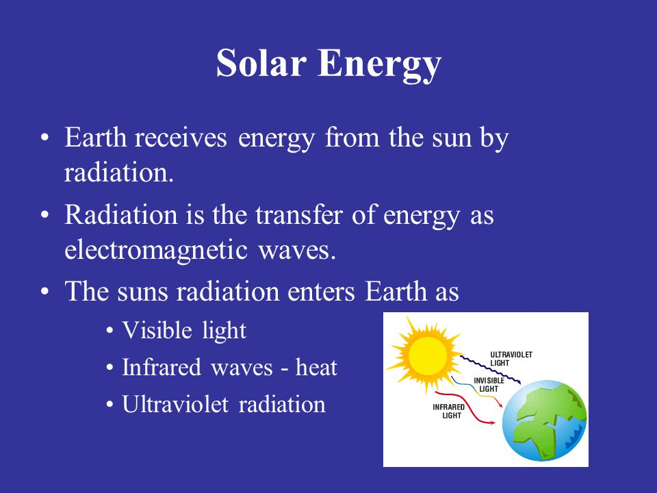 Solar Energy Earth receives energy from the sun by radiation.