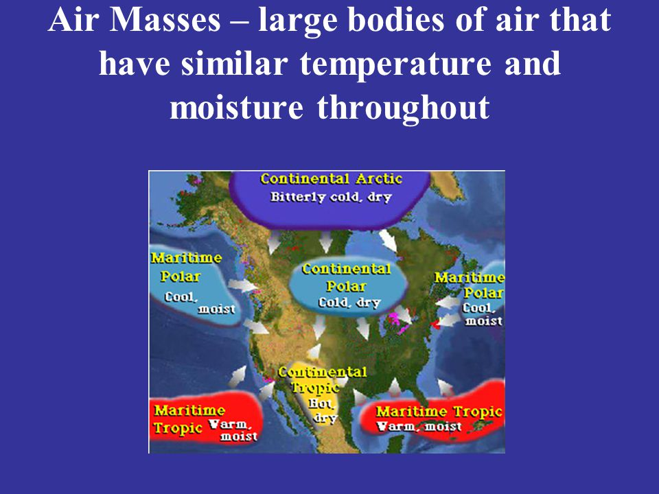 Air Masses – large bodies of air that have similar temperature and moisture throughout