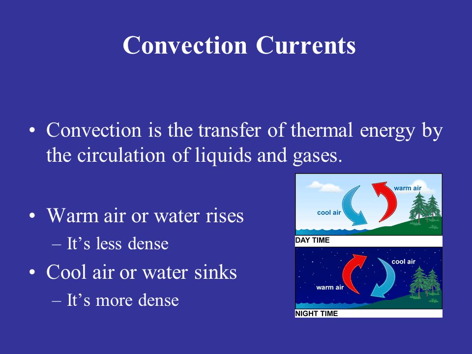 Convection Currents Convection is the transfer of thermal energy by the circulation of liquids and gases.