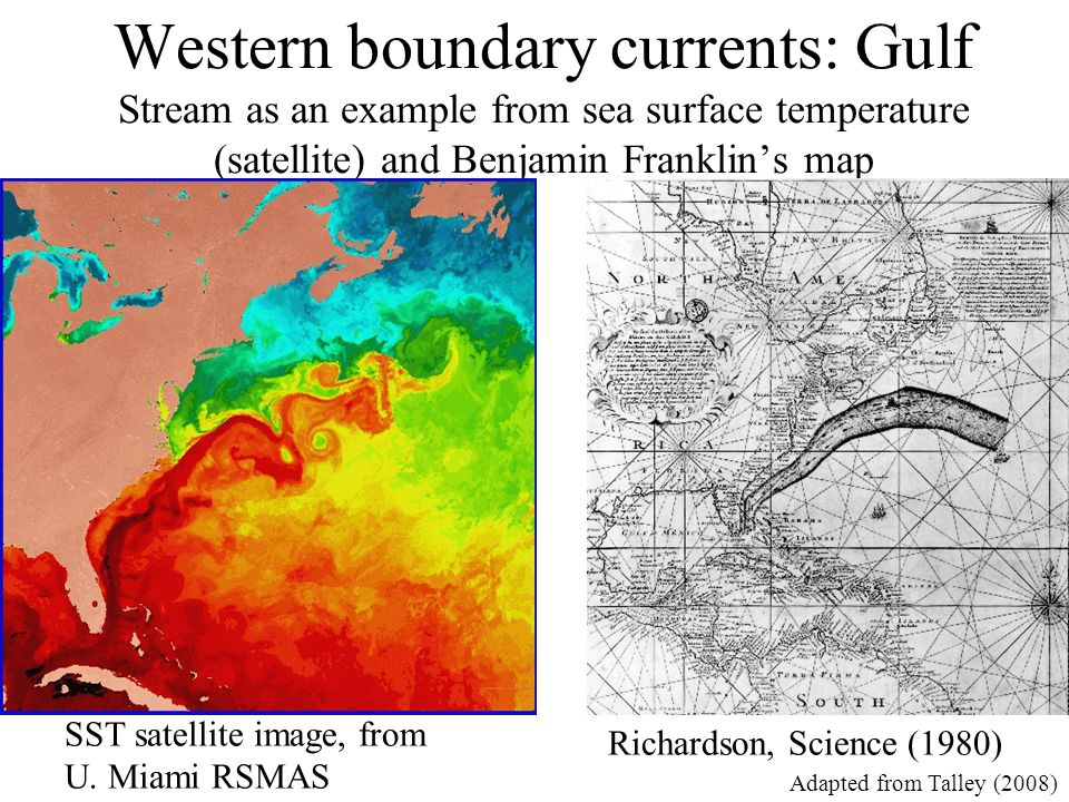 Western boundary currents: Gulf Stream as an example from sea surface temperature (satellite) and Benjamin Franklin's map