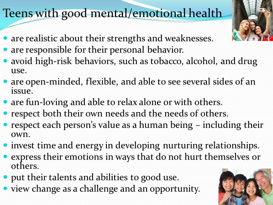 Teens with good mental/emotional health