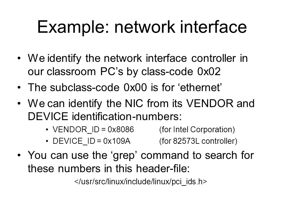 Example: network interface