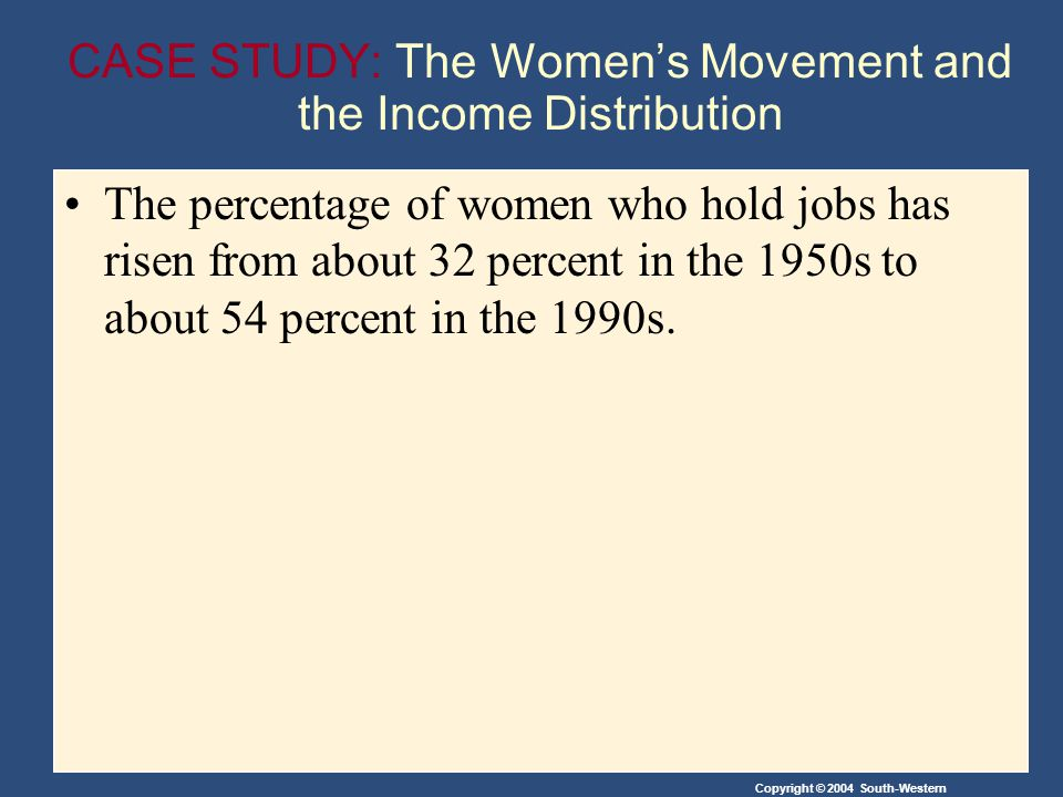 CASE STUDY: The Women's Movement and the Income Distribution