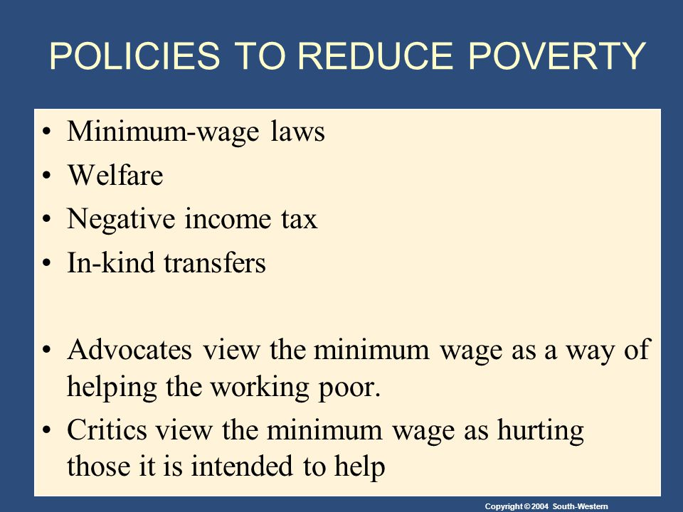 POLICIES TO REDUCE POVERTY