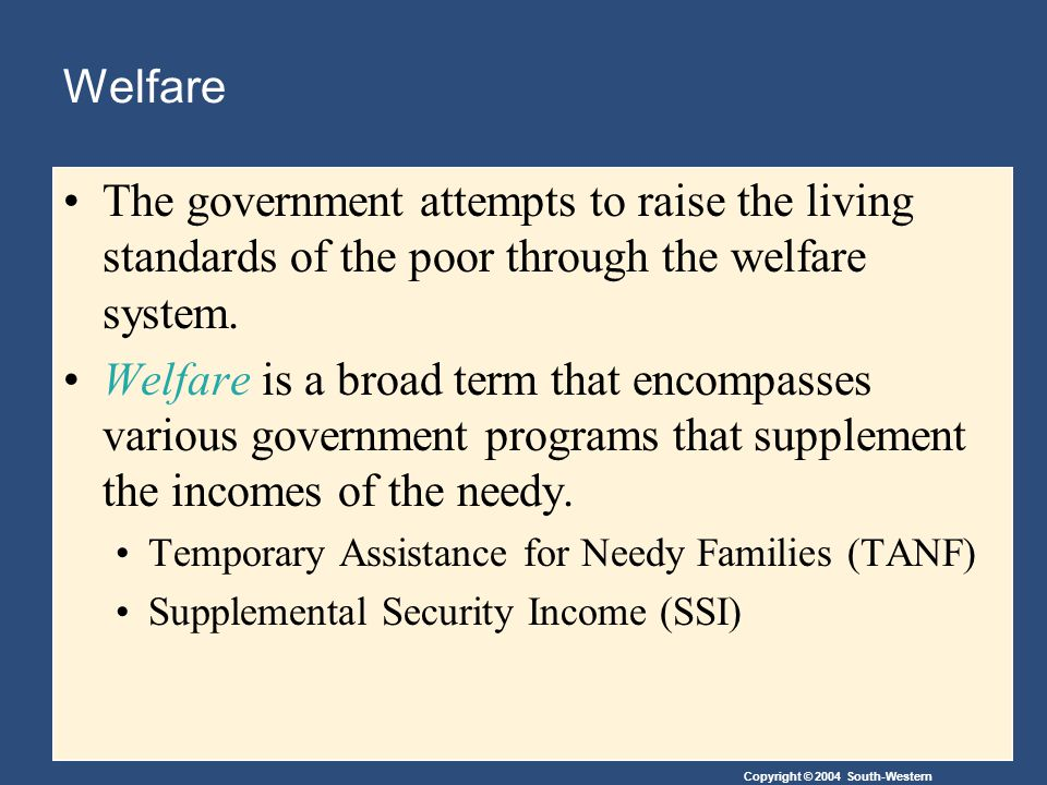 Welfare The government attempts to raise the living standards of the poor through the welfare system.
