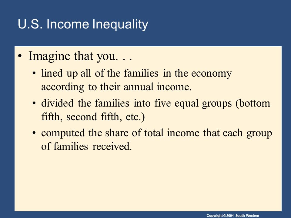 U.S. Income Inequality Imagine that you. . .