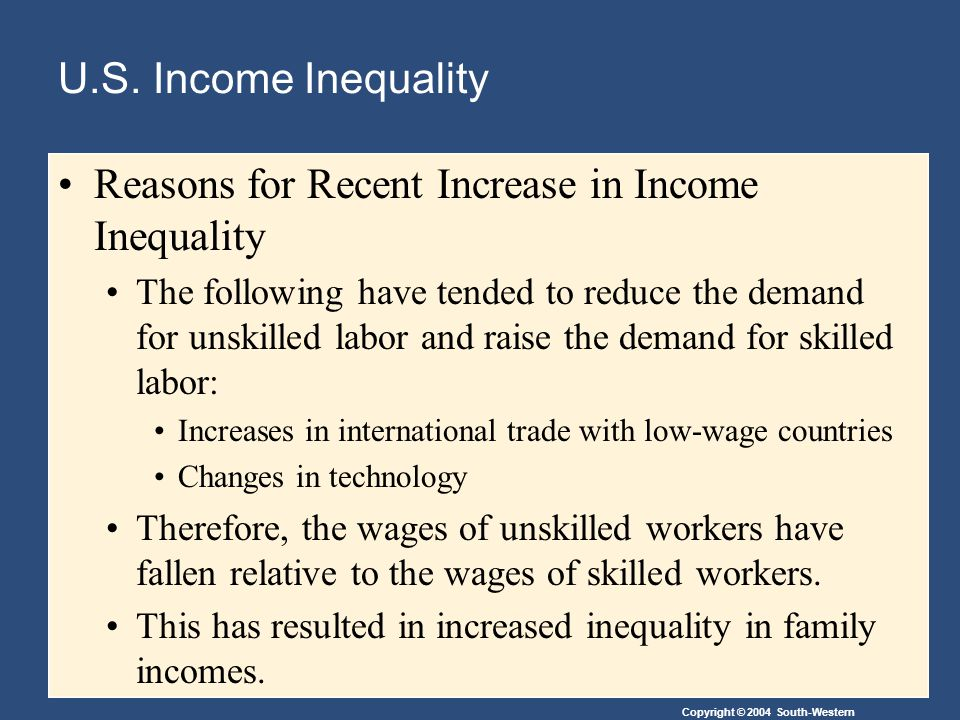 Reasons for Recent Increase in Income Inequality