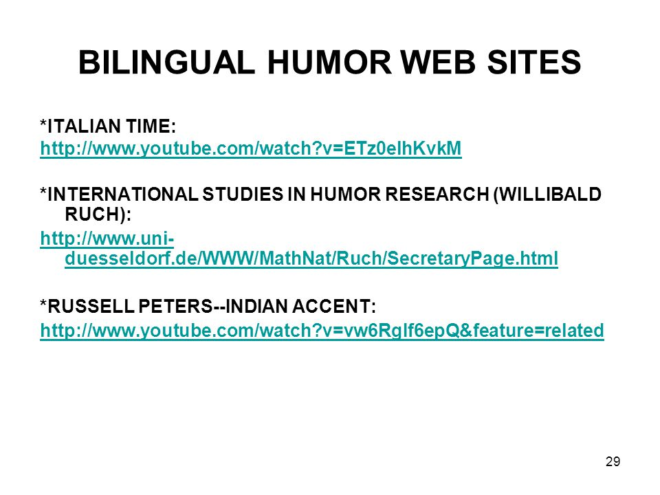 BILINGUAL HUMOR WEB SITES