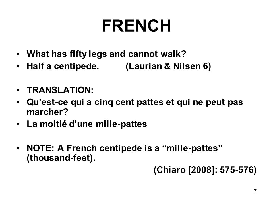FRENCH What has fifty legs and cannot walk