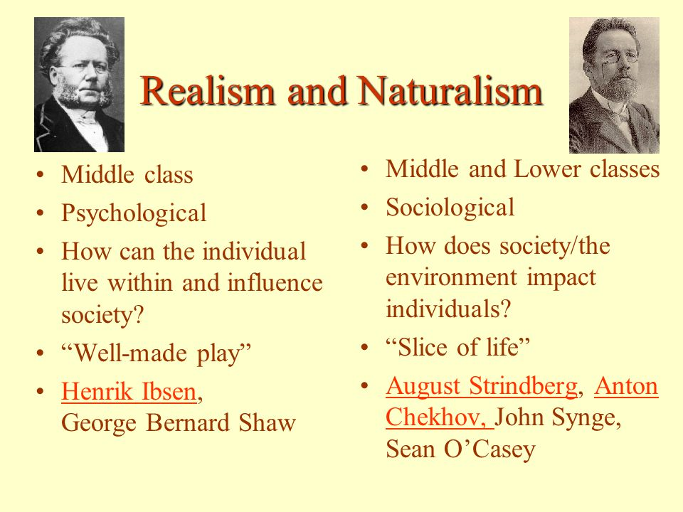 the influence of realism and naturalism Realism and naturalism to write about things as they actually are, opposed to the previous trend of romanticism in literature history context naturalism vs realism naturalistic authors use characters to depict flaws in society and how they influence individuals major authors: edith.