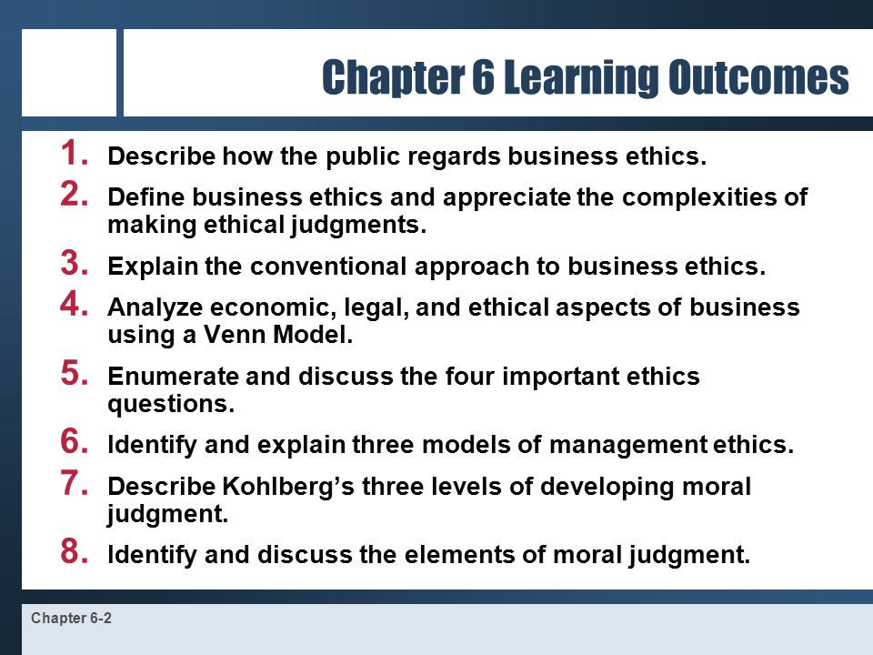 ethics and the manager chapter six Business firms are accountable to six major stakeholder groups: shareholders, employees, customers, creditors and suppliers, society and the government social responsiveness refers to the ability of a firm to implement policies and take part in activities that would benefit both society and the firm.