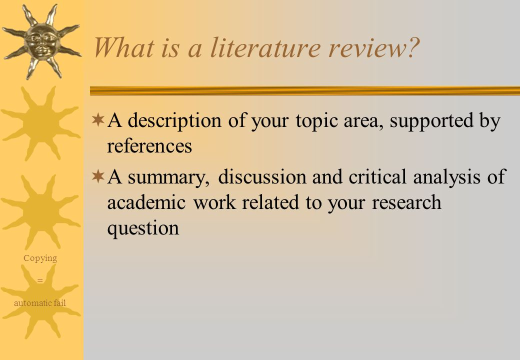 ?reviw of related literatures and studies essay While writing a research paper or dissertation, the literature review is the portion  where you brief the guidance counselor – also referred to as a project.