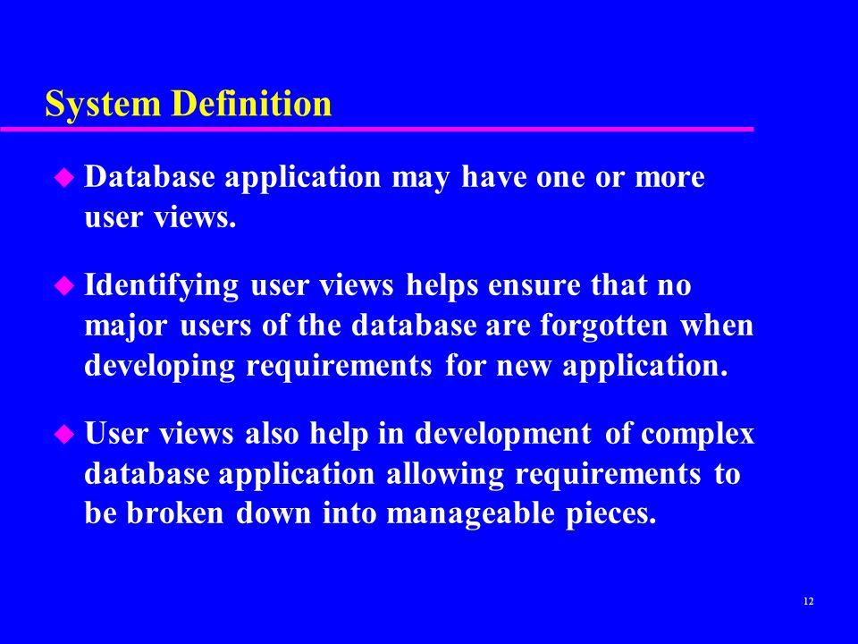 System Definition Database application may have one or more user views.