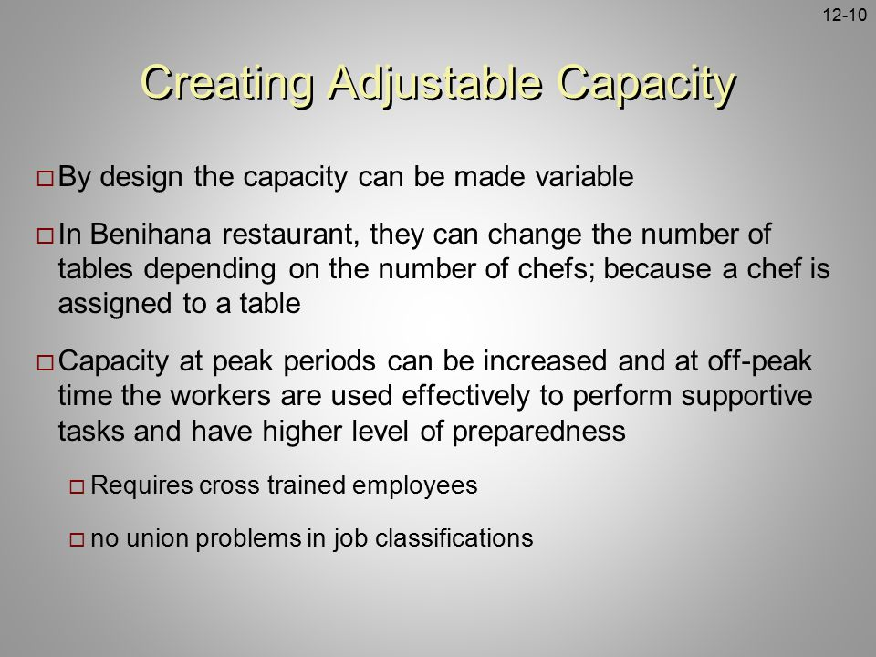 Creating Adjustable Capacity