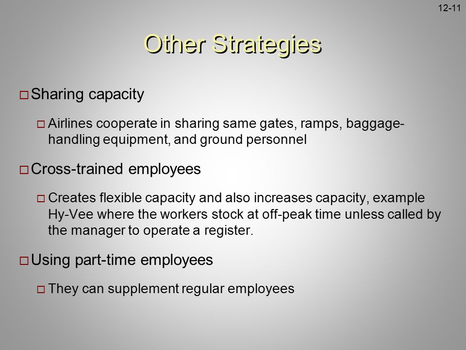 Other Strategies Sharing capacity Cross-trained employees